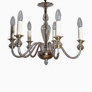 Lámpara de araña italiana de cristal de Murano ámbar de seis brazos, años 60