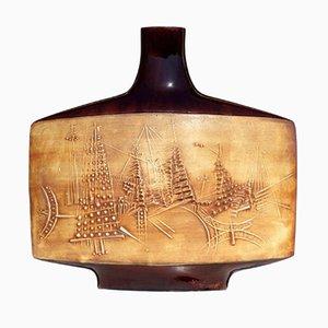 Glasierte Keramik Vase von Gilbert Portanier für Vallaurius, 1950er