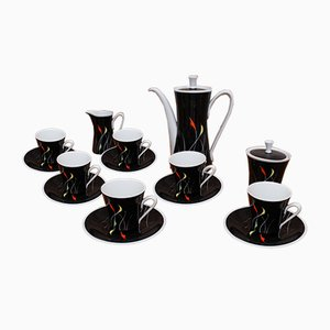 Hand-Painted Black & White Coffee Set from Kahla, 1960s