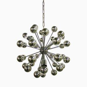 Lámpara de araña Sputnik vintage de metal cromado, años 60