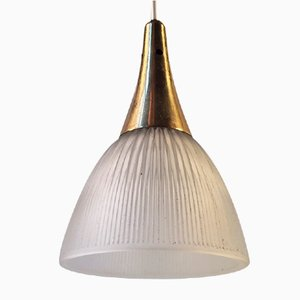 Swedish Mid-Century Window Pendant Light in Brass & Fluted Glass, 1960s