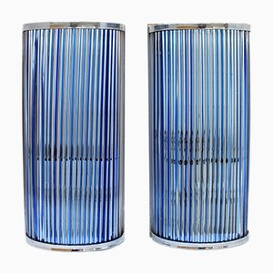 Italian De Majo Murano Crystal Canes Wall Lamps, 1970s, Set of 2