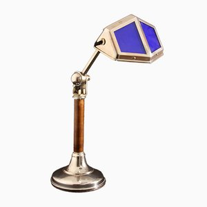 French Functionalist Desk Lamp with Wood from Pirouette, 1920s