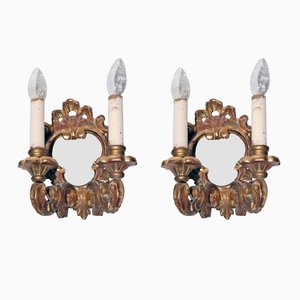 Gilded Wooden Wall Sconces, 1900s, Set of 2
