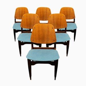 Teak Furnier und Palisander Esszimmerstühle von Fratelli Proserpio, 1950er, 6er Set