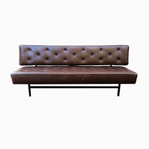 Vintage Brown Leather Sofa Bed, 1960s