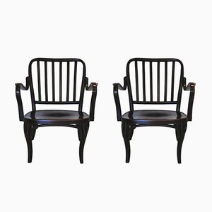 Lacquered Bentwood Armchairs from TON, 1950s, Set of 2