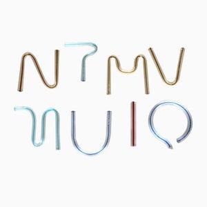 Letras del alfabeto de vidrio y neón de Massimo Vignelli para Venini, 1984. Juego de 8