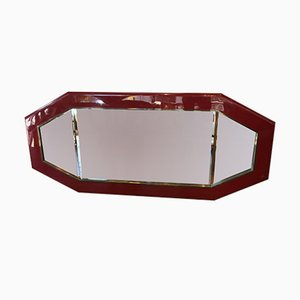 Vintage Italian Red Lacquer Mirror