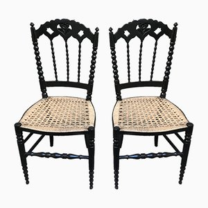 Kleine schwarz lackierte Vintage Holzstühle, 2er Set