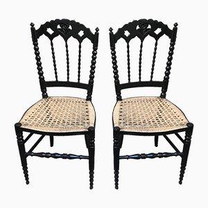 Petites Chaises Vintage en Bois Laqué Noir, Set de 2