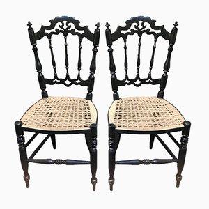 Chaises Vintage en Bois Laqué Noir, Set de 2