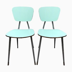 Vintage Green Metal Ant Chairs, Set of 2