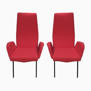 Red Fabric Armchairs, Set of 2