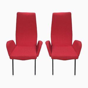 Rote Armlehnstühle, 1960er, 2er Set