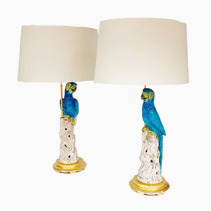 Lámparas vintage en forma de loro en azul. Juego de 2