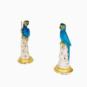 Vintage Blue Parrot Lamps, 1970s, Set of 2