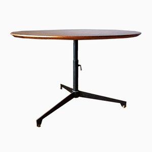 Tavolo in legno di noce, ferro e ottone di Osvaldo Borsani per Tecno, anni '50