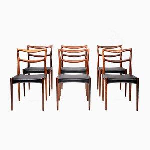 Palisander Esszimmerstühle von H.W. Klein für Bramin, 1960er, 6er Set