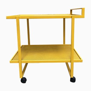 Gelb lackierter Vintage Metall Servierwagen