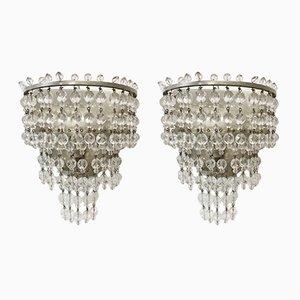 Italienische Vintage Kristallglas Wandleuchten, 2er Set