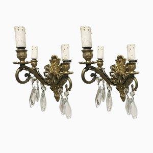 Applique vintage in bronzo e cristallo, set di 2