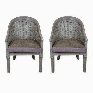 Englische Vintage Stühle mit geflochtenen Sitzen, 1930er, 2er Set