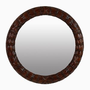 Circular Mahogany Laurel Mirrors, Set of 2
