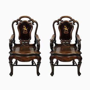 19th-Century Anglo Chinese Armchairs, Set of 2