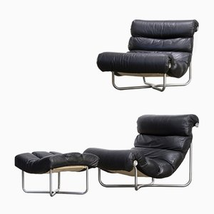 Model Glasgow Lounge Chairs & Ottoman by Georges van Rijck for Beaufort Belgium, 1970s