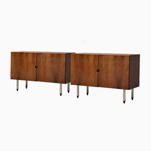 Mid-Century Danish Veneered Mahogany Low Sideboards, Set of 2