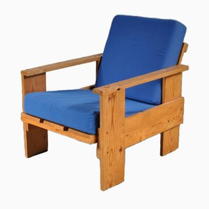 Niederländischer Vintage Sessel mit Kiefern Kasten Gestell, 1960er