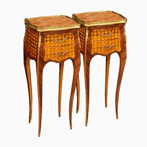 Mid-Century French Inlaid Bedside Tables with Marble Tops, Set of 2