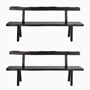 Finnish Ebonized Elm Benches by Olavi Hanninen for Mikko Nupponen, 1950s, Set of 2