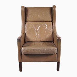 Leather Lounge Chair by Borge Mogensen for Stouby, 1960s