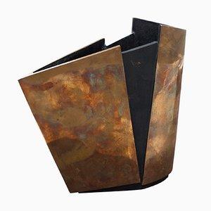 Italian Bronze Vase with Acid Work by Esa Fedrigolli for Esa Fedrigolli, 1970s
