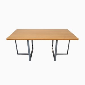 Eichenholz Furnier Schreibtisch mit verchromtem Metallgestell, 1970er