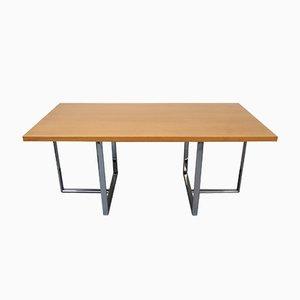 Oak Veneered Desk with Chromed Metal Base, 1970s