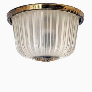 Lámpara de techo o pared italiana de vidrio prensado de Seguso, años 40
