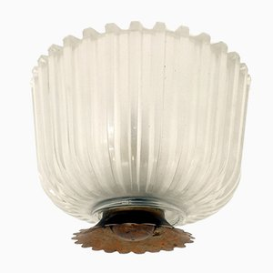 Italian Ceiling Lamp in Pressed Crystal from Seguso, 1940s