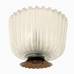Italienische Deckenlampe aus gepresstem Kristall von Seguso, 1940er