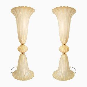 Große Italienische Murano Glas Lampen von Ercole Barovier für Barovier & Toso, 1970er, 2er Set