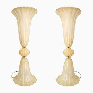 Lampade grandi in vetro di Murano di Ercole Barovier per Barovier & Toso, Italia, anni '70, set di 2