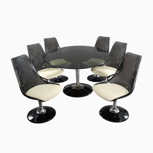 Oval Table & 6 Swiveling Tulip Chairs from Chromcraft, 1970s