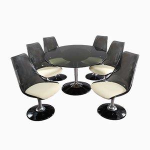 Ovaler Tisch und 6 schwenkbare Tulip Stühle von Chromcraft, 1970er
