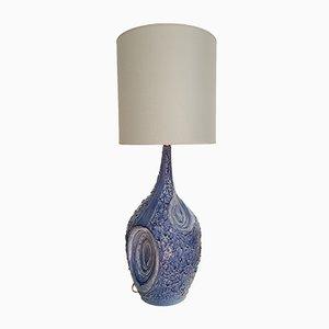 Large Italian Blue Ceramic Lamps, 1980s, Set of 2