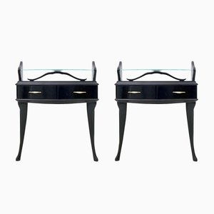 Black Lacquered Wood Nightstands with Glass Tops, 1950s, Set of 2