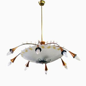 Italian Chandelier in Satin Glass, Copper, & Brass, 1950s