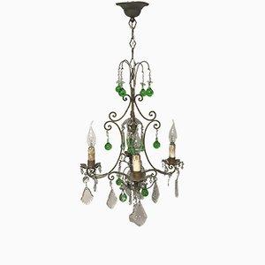 Italienischer Vintage Kristall Kronleuchter mit grünen Murano Glastropfen