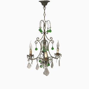 Lámpara de araña italiana vintage de cristal con gotas de cristal de Murano verde